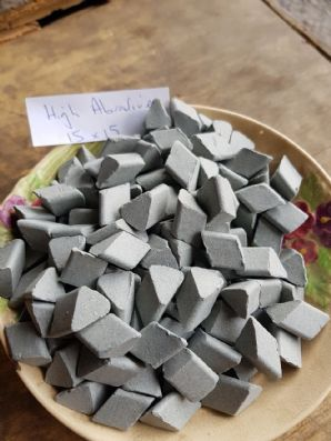 15 x 15  Ceramic abrasive media chips  for vibratory tumbler